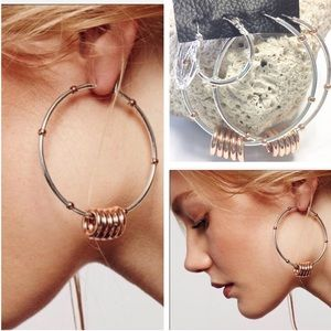 Free People Silver & Copper Hoops Removable Hoops